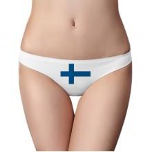 芬兰国旗欧洲国家象征符号图案 女士美丽白色无痕内裤丁字裤2片装礼物