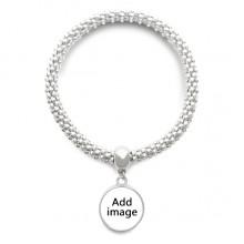 银色圆形金属吊坠手链饰品首饰礼品礼物