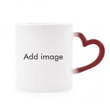 加热变色陶瓷马克杯红色心形把手