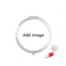 圆形药盒便携镜子迷你药丸盒子礼物