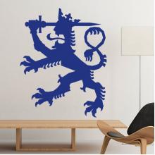 芬兰国徽标志符号图案 墙贴纸学校教室宿舍背景墙家居卧室房间装饰画可移除贴画