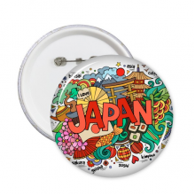 我爱日本亚洲文化彩色可爱盆景艺伎花寿司手绘艺术图案 圆形徽章胸章胸牌装饰挂牌5件