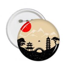 日本黑白红黄寺庙塔桥建筑松树富士山太阳风景剪影艺术图案 圆形徽章胸章胸牌装饰挂牌5件