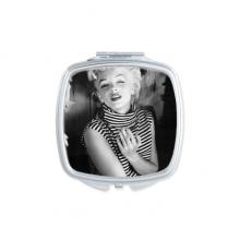 条纹礼服玛丽莲梦露老电影美丽趣味照片 方形化妆镜子便携小镜子迷你简约双面镜礼物