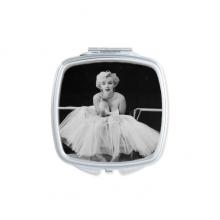 白纱裙玛丽莲梦露老电影美丽趣味照片 方形化妆镜子便携小镜子迷你简约双面镜礼物