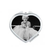 白纱裙玛丽莲梦露老电影美丽趣味照片 心形化妆镜子便携小镜子迷你双面镜礼品