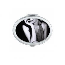 黑白照玛丽莲梦露老电影美丽趣味照片 椭圆形化妆镜子便携小镜子迷你简约双面镜礼物