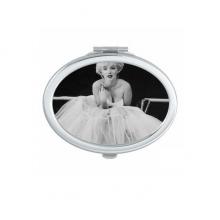 白纱裙玛丽莲梦露老电影美丽趣味照片 椭圆形化妆镜子便携小镜子迷你简约双面镜礼物