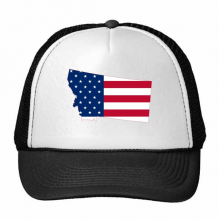蒙塔纳州美国地图星条旗美国国旗 创意个性鸭舌帽棉质户外运动帽子休闲时尚棒球帽礼物