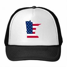 明尼苏达州美国地图星条旗美国国旗 创意个性鸭舌帽棉质户外运动帽子休闲时尚棒球帽礼物
