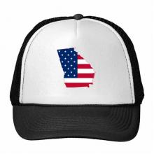 佐治亚州美国地图星条旗美国国旗 创意个性鸭舌帽棉质户外运动帽子休闲时尚棒球帽礼物