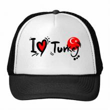 我爱土耳其文字爱心国旗艺术字插画图案 创意个性鸭舌帽棉质户外运动帽子休闲时尚棒球帽礼物