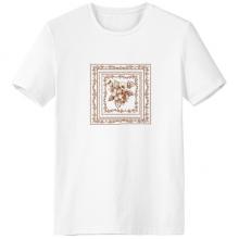 巴洛克艺术花画框现代图案 男女白色短袖T恤创意纪念衫个性T恤衫礼物