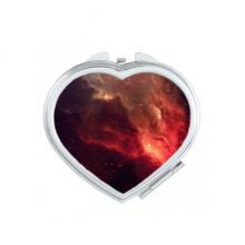 黑色宇宙中绝美梦幻闪耀红色星云图案 心形化妆镜子便携小镜子迷你双面镜礼品