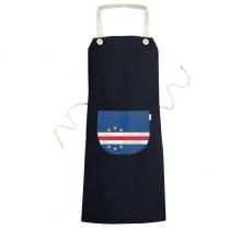 佛得角国旗非洲国家象征符号图案 黑色家居厨房围裙咖啡厅网咖奶茶店工作服礼物礼品