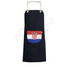 克罗地亚国旗欧洲国家象征符号图案 黑色家居厨房围裙咖啡厅网咖奶茶店工作服礼物礼品