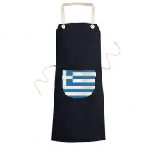 希腊国旗欧洲国家象征符号图案 黑色家居厨房围裙咖啡厅网咖奶茶店工作服礼物礼品