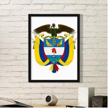 哥伦比亚国徽标志符号图案 黑色简约装饰画家居装饰画框礼品礼物