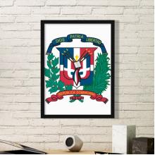 多米尼加国徽标志符号图案 黑色简约装饰画家居装饰画框礼品礼物