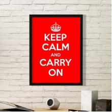 保持冷静继续前行红色白色英国传统皇冠战争和平海报图案 黑色简约装饰画家居装饰画框礼品礼物
