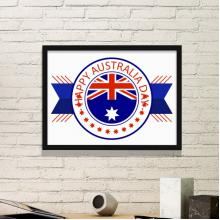 澳大利亚风情澳大利亚日徽章国旗图案 黑色简约装饰画家居装饰画框礼品礼物