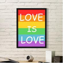 LGBT同志蕾丝边跨性别者双性恋保持冷静因为爱就是爱支持者彩虹旗造型心艺术图案 黑色简约装饰画家居装饰画框礼品礼物