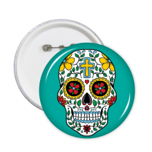 藤蔓骷髅头花十字架墨西哥文化插图 圆形徽章胸章胸牌装饰挂牌礼物5件