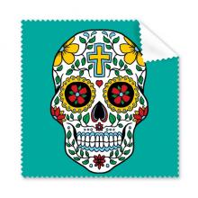 藤蔓骷髅头花十字架墨西哥文化插图 眼镜布屏幕清洁布礼物手机屏幕擦5张