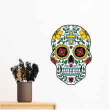 藤蔓骷髅头花十字架墨西哥文化插图 墙贴纸学校教室宿舍背景墙家居卧室房间装饰画可移除贴画