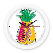 手绘食物菠萝墨西哥文化元素插图 圆形无声挂钟壁钟钟表家居装饰礼物