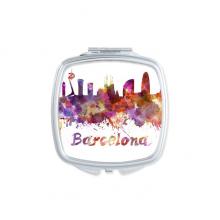 巴塞罗那西班牙国家城市水彩插画 方形化妆镜子便携小镜子迷你简约双面镜礼物