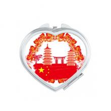 中国红国旗灯笼塔牌坊图案 心形化妆镜子便携小镜子迷你双面镜礼品