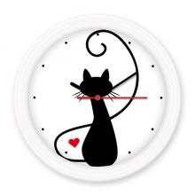 喵爱心猫背影剪影保护动物爱宠人士 圆形无声挂钟壁钟钟表家居装饰礼物