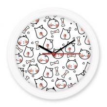 猫狗骨头简笔画保护动物爱宠 圆形无声挂钟壁钟钟表家居装饰礼物