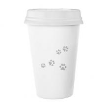 猫喵动物灰色脚印艺术纹理 陶瓷杯子可爱创意马克杯牛奶杯水杯带盖咖啡杯