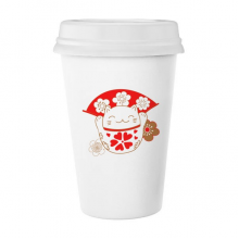 花喜庆招财猫扇子日本文化 陶瓷杯子可爱创意马克杯牛奶杯水杯带盖咖啡杯