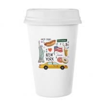 我爱纽约热狗甜甜圈美国出租车 陶瓷杯子可爱创意马克杯牛奶杯水杯带盖咖啡杯