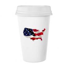 星条旗美国国旗地图 陶瓷杯子可爱创意马克杯牛奶杯水杯带盖咖啡杯