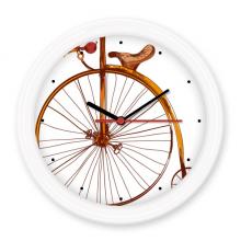 复古老式自行车手绘英国 圆形无声挂钟壁钟钟表家居装饰礼物