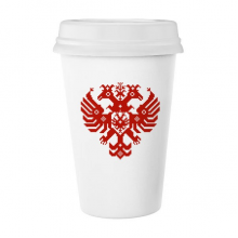 马赛克风格俄罗斯双头鹰国徽 陶瓷杯子可爱创意马克杯牛奶杯水杯带盖咖啡杯