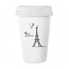 埃菲尔铁塔法国巴黎涂鸦手绘 陶瓷杯子可爱创意马克杯牛奶杯水杯带盖咖啡杯