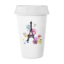 埃菲尔铁塔爱心水彩法国巴黎 陶瓷杯子可爱创意马克杯牛奶杯水杯带盖咖啡杯