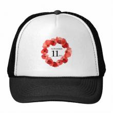 水彩虞美人红花环英国国殇纪念日 创意个性鸭舌帽棉质户外运动帽子休闲时尚棒球帽礼物
