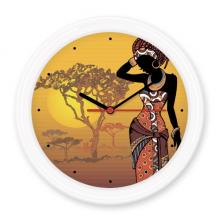 非洲大草原黑人性感部落女性 圆形无声挂钟壁钟钟表家居装饰礼物