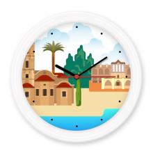 塞浦路斯国家标志建筑 圆形无声挂钟壁钟钟表家居装饰礼物