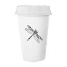 蜻蜓动物黑白速写 陶瓷杯子可爱创意马克杯牛奶杯水杯带盖咖啡杯
