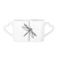 蜻蜓动物黑白速写 情侣马克水杯陶瓷杯子个性咖啡杯创意牛奶杯礼物