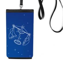 九月十月天秤星座星空 皮革手机挂包钱包黑色智能手机保护套礼品礼物