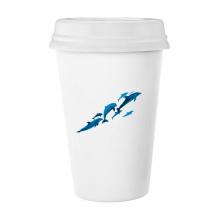 大小不一的海豚 陶瓷杯子可爱创意马克杯牛奶杯水杯带盖咖啡杯