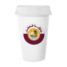 卡塔尔亚洲国徽 陶瓷杯子可爱创意马克杯牛奶杯水杯带盖咖啡杯